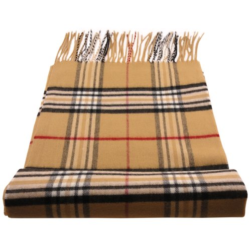 TigerTie Feiner Designer Schal in beige camel braun rot schwarz anthrazit kariert - Stoff Cashmink Designer-schal