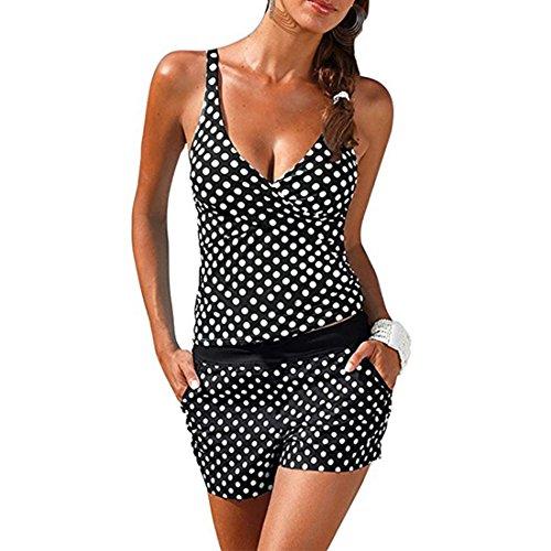 Inlefen Frauen Sexy Zwei Stücke Wave Point Badeanzug Bikini Beachwear Tops mit Höschen -