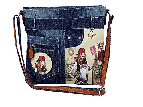 yourlifeyourstyle Jeans Look Umhängetasche mit aufgenähten Patches, Nieten und Print auf Kunstleder - Maße ohne Riemen 29 x 26 cm - Damen Mädchen Teenager Tasche - Jeanshosen Bund (blau)