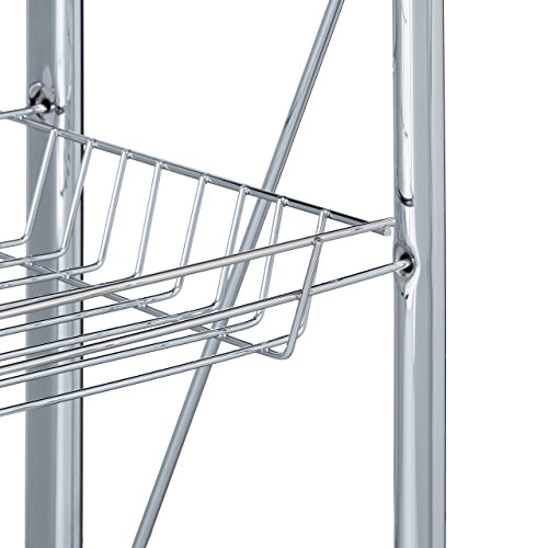 Relaxdays Servierwagen klappbar Weiß – 4 Rollen, Metall, 2 Böden, Korb – Küchenrollwagen – in drei Farben wählbar - 4