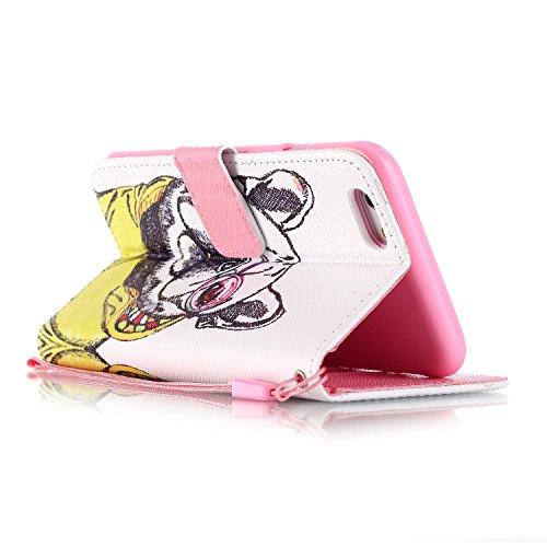 JAWSEU Strap Brieftasche für iPhone 6 Plus/6S Plus,Retro Elegant Neuheit Prägung Blumen Muster Schwarz Lanyard Flip Handyhülle Schutzhülle Pu Folding Stil Leder Magnetverschluss Taschen Wallet Briefta Hund
