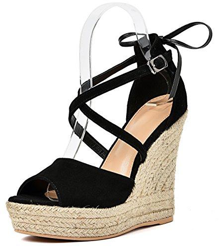 Simplec scarpe con zeppa con fibbia alla caviglia e punta aperta,donna sandali fatti a mano in pelle scamosciata con espadrillas bowknot nero38.5