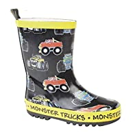 Stormwells Childrens Monster Trucks Wellies/Wellintons (13 UK Child, Black/Yellow)