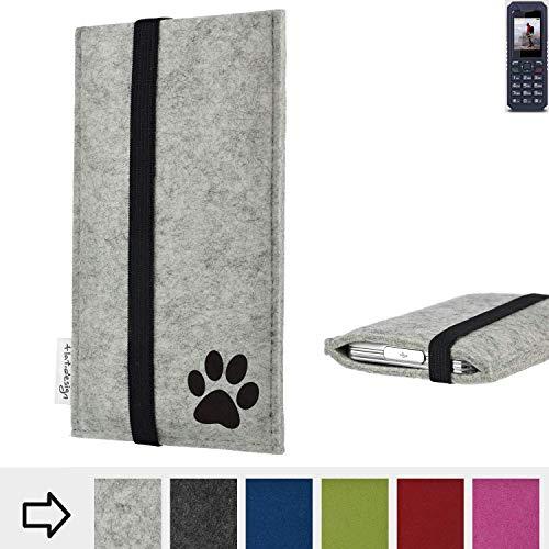 flat.design Handy Hülle Coimbra für bea-fon AL250 individualsierbare Handytasche Filz Tasche fair Hund Pfote tatze