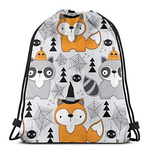 Halloween Foxes-and-Raccoons-on-Grey_2589 Rucksack mit Kordelzug Rucksack Umhängetaschen Leichte Sporttasche zum Wandern Yoga Gym Schwimmen Travel Beach