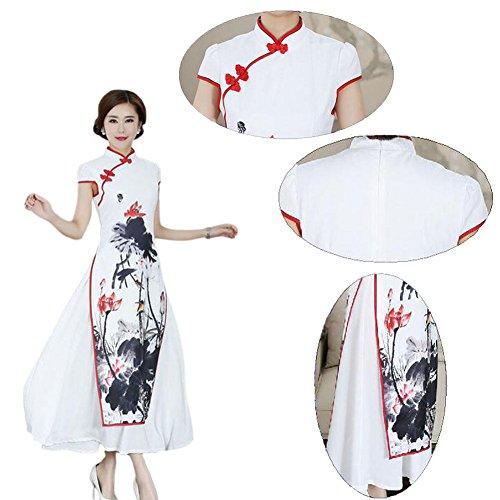Meijunter Chinesisch Frauen Traditionell Tintenmalerei Cheongsam QiPao Evening Leinen Kurzarm Lange Kleid Robe Blau