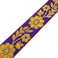 Cinta púrpura tradicional india Tela bordada ajuste floral Diseño de la frontera por el astillero