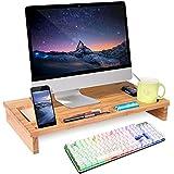 HOMFA Soporte para Monitor soportes para pantallas de bambú Mesas de ordenador Organizador de Escritorio Para Monitor 60*30*8.5cm
