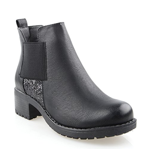 Eyekepper Chaussure fashion femme demoiselle - chaussures botte a talon Noir