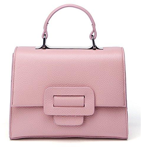 Xinmaoyuan Handtaschen der Frauen Lady kleine Quadratische Tasche wirklich Rindsleder Schulter Messenger Handtasche, Schwarz Rosa
