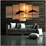 LQWE 3D Leinwandbild Leinwandbilder Home Decor 5 Stück Springen Dolphins Ocean Printings Hd Drucke Sonnenuntergang Seascape Poster Modularen Wandkunst