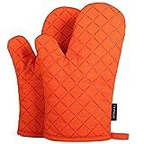 Homever Ofenhandschuhe,Hitzebeständige Handschuhe bis zu 260℃,Silikon Anti-Rutsch Grillhandschuhe, Geeignet für Kochen, Backen, Grillen,Topfhandschuhe,Orange,1 Paar