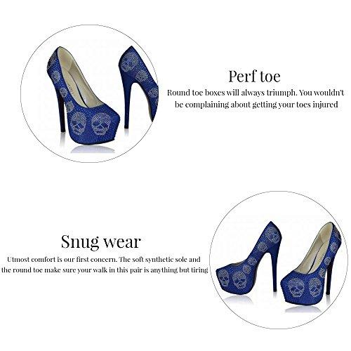 Trend-Stern-Frauen-Absatz-Plattformschuhe verziertes Schädel-Partei-Hochzeits-Diamantgröße 3-8 Style 1 - Elfenbein