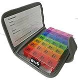 PuTwo Pastillero 7 Días Pill Wallet con 28 Compartimientos Recordatorio de Pastillero Pill Reminder - Version en Español