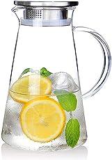Suteas 2.0 Liter 70 Unzen Glas Krug karaffe mit Deckel Eistee Krug Wasserkrug Heißes Kaltes Wasser Eistee Wein Kaffee Milch und Saft Getränkekaraffe wasserkaraffe