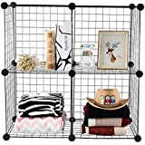 Livzing 4 Cube Metal Wire Storage Organizer DIY Grids Shelves for Home Office Stackable Modular Shelving and Closet Cabinet R