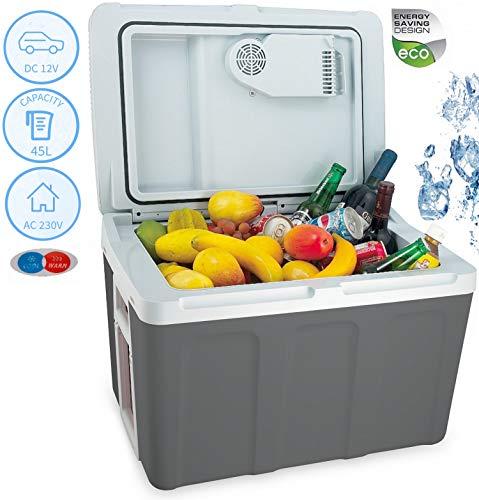 XXL 45 Liter 2in1 Kühlbox | Kühltasche | Thermobox | Isoliertasche Warmhaltebox | Auto Camping Outdoor Kühlbox & Warmhaltebox |Tragegriff | 12 Volt und 230 Volt