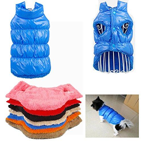 Kismaple manteau imperméable pour chien Veste d'hiver rembourré matelassé Doudoune pour chien Pet Grand / Moyen vêtements assortis Bleu L Poitrine: 49-51CM