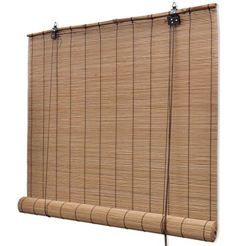 Nishore Persiana de Bambú para Interiores, Estor Enrollable, Estores para Ventana (Marrón de Bambú - 80 x 160 cm)