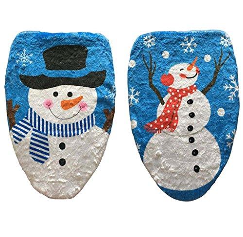 2 pezzi DegGod Decorazioni di Natale bagno privato servizi igienici Imposta Natale Pupazzo di neve Sedile WC Coperchio (blu bianca)