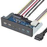 ELUTENG Panel Frontal USB 3.0 5.25 Pulgadas Metal Panel Frontal con 2 USB 3.0, 2 USB 2.0, 1 tipo C, 1 micrófono, auriculares y 1 interno USB 3.0 de 7 puertos de alta velocidad 5 Gbps PC Panel Frontal para Escritorio