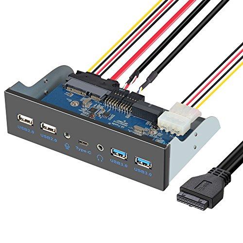 ELUTENG 5.25 USB 3.1 Front Panel USB 3.0 x 2 , USB 2.0 X 2 , Typ C , Microphone und Audio insgesamt 7 Anschluss Metall Frontplatte Datentransfergeschwindigkeiten bis zu 5Gb/s Usb Front Bay