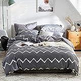Boqingzhu Bettwäsche 220x240cm Grau Muster Streifen Gestreifte Bettwäsche Set Baumwolle 3 Teilig,220x240 + 2x80x80 cm