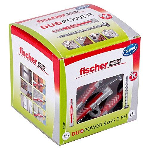 fischer DUOPOWER 8 x 65 S PH - Universaldübel mit Panhead-Schraube für eine Vielzahl von Baustoffen - Allzweckdübel für leichte Wandregale, Blumenampeln, Wanduhren uvm. - 25 Stück - Art.-Nr. 5382