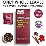 Only Leaf Hibiscus Cinnamon Clove Green Tea , 27 Tea Bags (25 Tea Bags + 2 FREE Exotic Samples)