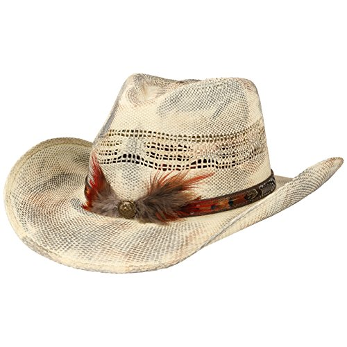 Smoky Toyo Westernhut Strandhut Strohhut Hut Sommerhut Sonnenhut Cowboyhut Stetson Cowboyhut Sonnenhut (M/56-57 - cremeweiß) (Damen Cowboyhut Toyo)