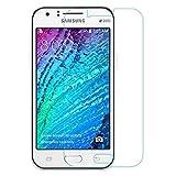 Protector de pantalla Cristal templado para Samsung Galaxy J1 Calidad HD, Grosor 0,3mm, Bordes redondeados 2,5D, alta resistencia a golpes 9H. No deja burbujas en la colocación (Incluye instrucciones y soporte en Español)