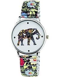 BELLOS -Damen Armbanduhr weiß Elefanten Quarz Gehäuse Stahl Analog Display Typ Armband Stahl Multicolor