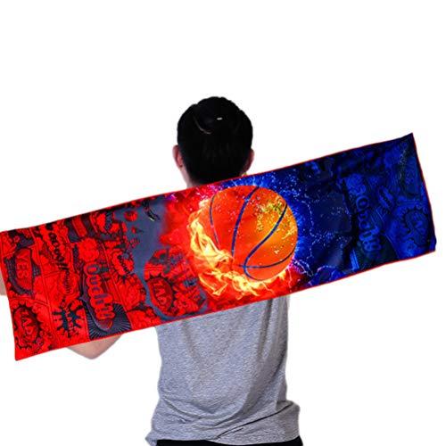 Oyria 100 x 30 cm Kühltuch Eiskaltes, schnell trocknendes Fitnesstuch zur sofortigen Linderung, als Kühlhalsstirnband Bandana-Schal Cooler Aufenthalt, Basketball (Bandana Sportliche)