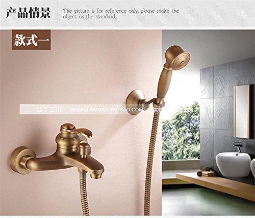 Badezimmer Retro antik Kupfer Messing Badewanne Dusche an der Wand montierte Regendusche Mischbatterie Wasserhahn 3-Funktionen Mixer Ventil, siehe Abbildung