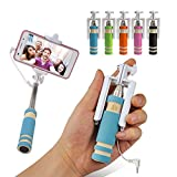 #9: Mini Selfie Stick Monopod with Aux Cable for Apple iPhone, All Android Smartphones No Bluetooth, No Charging required (Assorted Colors)