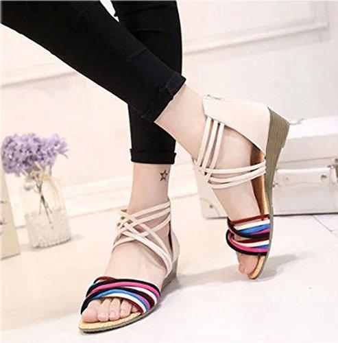 Minetom Damen Sommer Mode Boho Stil Sandals Keilabsatz Gladiator Schuhe Flache Ferse Offene Sandalen Weiß02