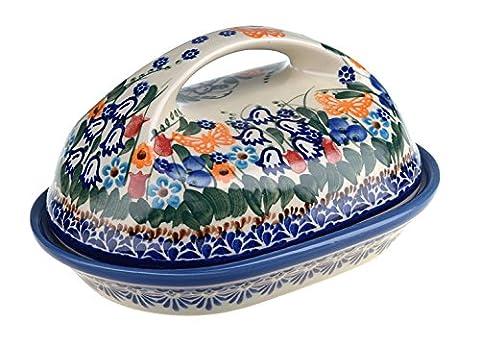 Classic Boleslawiec Hand Painted Stoneware Butter Dish with lid 331-U-099 by BCV Boleslawiec Pottery