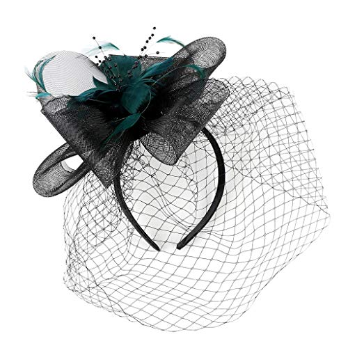CUTUDE Tüll Fascinator Hüte mit Feder Blumen Haar Clip Haarreif Haar Accessoire Schleier Tea Party Hochzeit Kirche Haarschmuck Kopfschmuck Kopfbedeckung für Frauen (Grün, Uniform code)