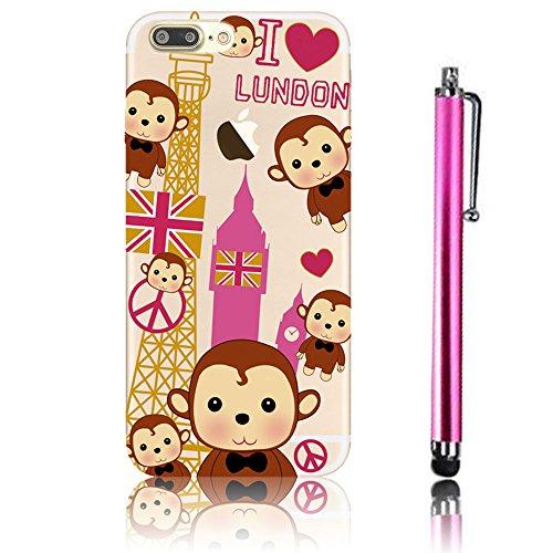 iPhone 7 Plus Case (5.5), iPhone 7 Plus Custodia, Bonice TPU trasparente Ultra Slim Thin 3D Case + Stilo Penna - butterfly Girl model 18