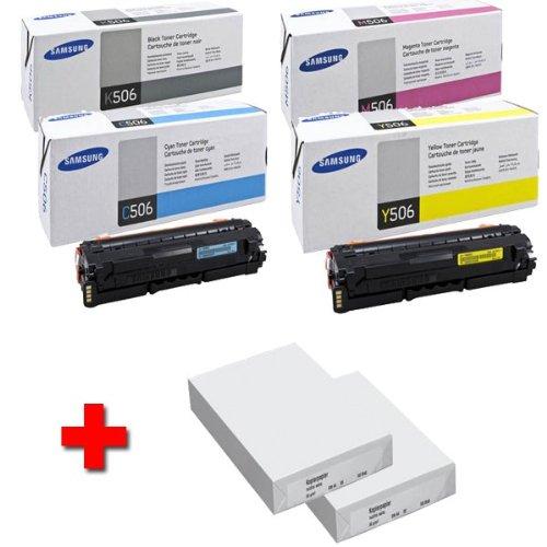 Preisvergleich Produktbild Samsung CLX 6260 ND original Tonerkit CLT - K506L / ELS (schwarz) / CLT - C506L / ELS (cyan) / CLT - M506L / ELS (magenta) / CLT - Y506L / ELS (gelb) für CLP 680 / CLP 680 DW / CLP 680 ND / CLX 6260 FD / CLX 6260 FR / CLX 6260 FW / CLX 6260 ND + 2 x 500 Blatt DIN A4 Laserpapier 80g / m²