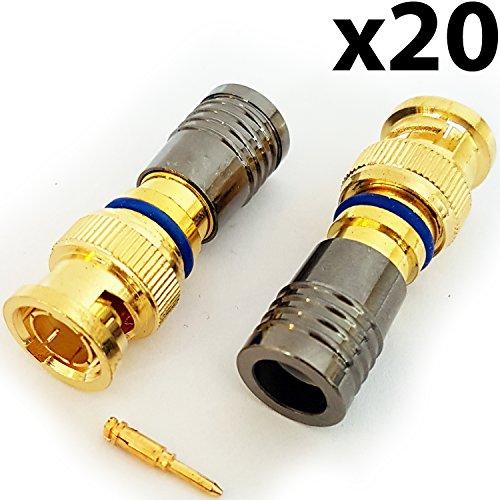20x BNC Kompressions-Stecker RG6Crimp Stecker Stecker Koaxialkabel-CCTV installieren-Cablefinder Video Rg59 Art