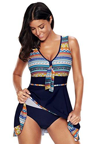 ALICECOCO Damen Neckholder Push Up Badekleid Figurformender Badeanzug mit Röckchen Bauchweg Einteiliger Badekleid Bunt