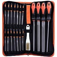 WiMas - Juego de limas de metal (19 unidades, limas de mano, limas de taller, planas, semicirculares, redondas, triangulares y limas de aguja)