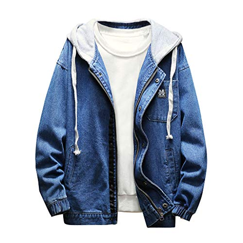 Geilisungren Herren Jeansjacke Knöpfe Jeans Jacket Sweatshirt Sweatjacke Männer Vintage Washed Destroyed Patchwork Denim Jacke Kapuzenjacke Herbst Mode Bomberjacke Mantel Outwear -