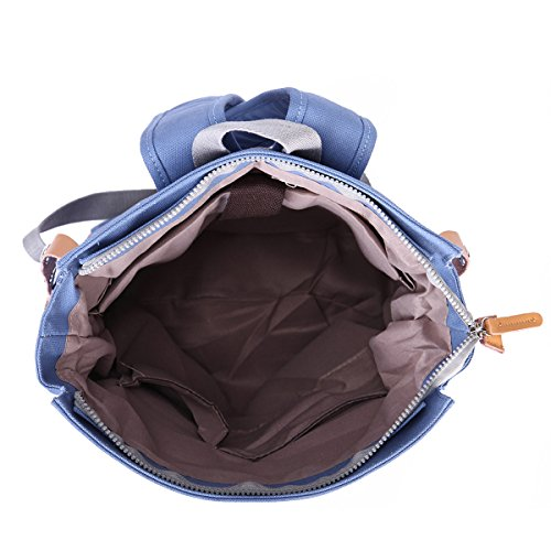 Eshow Damen Canvas Reise Freizeit Sportlich Uni Rucksack Taschen Hellblau