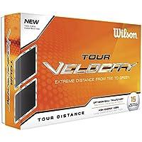 Wilson Staff, Weiche 2-Piece Golfbälle für weite Distanzen, 15er-Pack, Weiche Ionomerhülle, Tour Velocity, Weiß