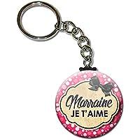 Marraine je t'aime Porte clés chaînette 38mm ( Idée Cadeau Baptême Communion Noël )