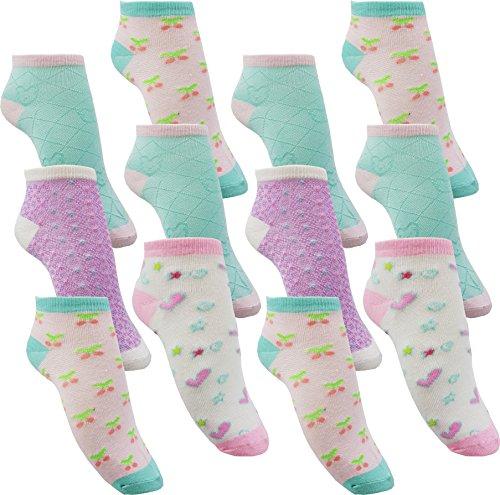 12 Paar Mädchen Sneaker Kinder Socken 95% Baumwolle Bunter Mix (C211 27-30)