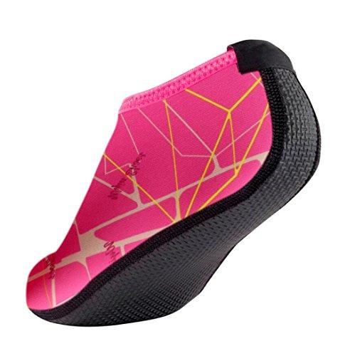 FNKDOR Unisex Fitnessschuhe Aquaschuhe Breathable Schlüpfen Schnell Trocknend Schwimmschuhe Yoga Schuhe für Damen Herren Kinder (44, Pink)