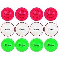 Kosma - Juego de 12 pelotas de críquet de viento para entrenamiento, deportivas y al aire libre, en una bolsa de malla de transporte (4 unidades cada una), color rosa con costura blanca, verde con costura blanca, blanco con costura roja.